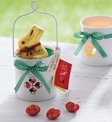 Cestino con candela Gold Bunny Lindt - FOTO